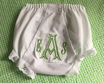Heirloom Embroidered Monogram Bloomers Diaper Cover Panty Baby Child Monogrammed