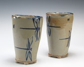 Stoneware Dragonfly Goblet Pair