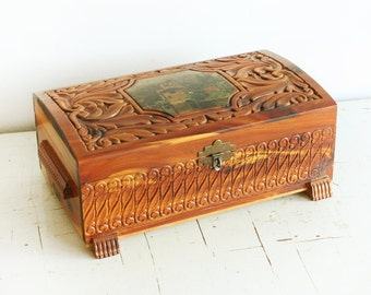 Vintage Carved Cedar Wood Jewelry Box with Mirror - Trinket what not box - Metal Details - hinged lid - finished