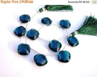 55% OFF SALE 1/2 Strand - AAA London Blue Quartz Faceted Cushion Briolettes Size 14x14mm High Quality Great Price