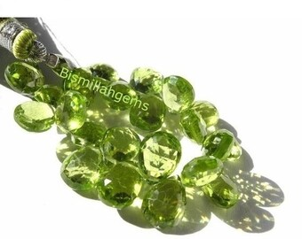 55% OFF SALE Peridot Faceted Pear Shaped Briolette Rare Size 8x7 - 9x7mm approx 50CTW 3.5 Inches Long Strand