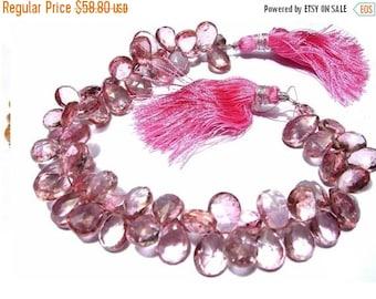 55% OFF SALE 30 Percent Sale 1/2 Strand Pink Mystic Quartz Faceted Pear Briolettes 30 pieces Size 10x8 -11x8mm