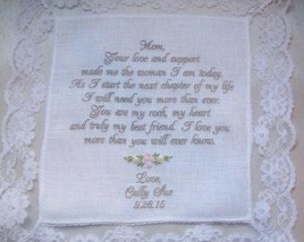 Wedding Handkerchief Mom, Mother of the Bride Handkerchief, embroidered wedding Hankies, Custom Personalized Linen Wedding Handkerchief,