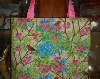 Folk Art Birds Tote Bag Bird Flowers Trees Blossoms Handmade Purse Limited