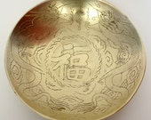 Brass Chinese Bowl with Engraved Dragons & Fu Character