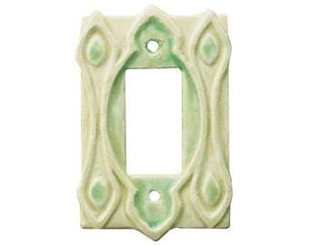 Moroccan Ceramic Light Switch Plate in Cream Moss Glaze