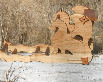 Card / Inkle weaving loom  - Double sided Cherry Wood Dragons made to order