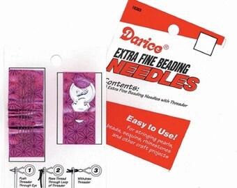 Extra Fine beading needle kit 6 needles & Threader Bead Craft 10303-1 fnt