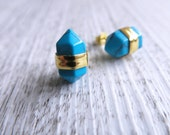 Turquoise Terminated Point Crystal Earrings Turquoise Gold Earrings   Gemstone Earrings   Turquoise Point Crystals