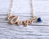 Virgo Necklace Star Sign Zodiac Astrology Necklace Birth Stone Birthday Gold Lapis Lazuli