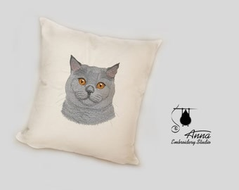 Pillow with embroidery - a pillow with a cat - embroidered cat - cat portrait on a pillow - chartreux cat