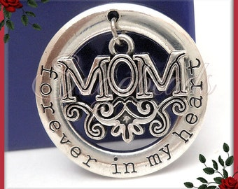 2 Antiqued Silver Forever in My Heart Mom Pendants 28mm PS178