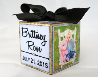 Lavender Baby's First Christmas Ornament Photo Block, Personalized My First Christmas Ornament