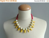 chunky red ivory yellow necklace statement style