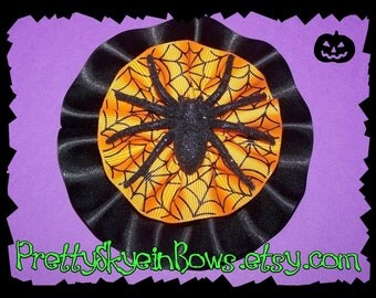 Happy Halloween Spider Boutique Hair Bow Clip in Orange and Black
