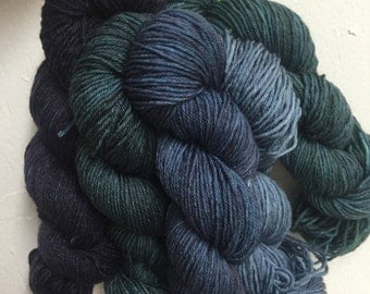 OOAK Blue Jeans Kind of Day --Huggy Sock Gradient Set- Fingering Weight - 120g - 575yds