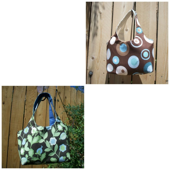 Craft Shopping Gathering Tote Bag Big Dots and Circles or Blue Pod Flowers Mini Sac Your Choice of One