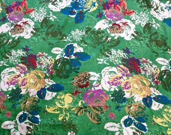 Vintage 1950s Green floral Crepe Fabric Yardage