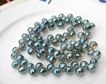 Metallic Green 10mm Onion Briolette Crystal Beads  16
