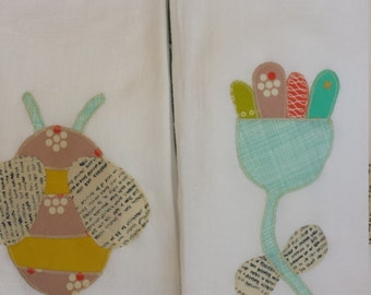 flour sack kitchen towel bumblebee and flower applique
