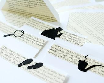 Sherlock Holmes Stationery, Repurposed Arthur Conan Doyle Book, Upcycled Book Page Stationary (8), John Watson, Book Worm Literary Gift