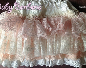 Sample Sale, Peach, Ivory, Flower Girl, Vintage lace ruffled skirt One of a kind, Size 5 Sale wedding lace