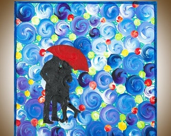 """Acrylic Modern Abstract Romantic love couple painting wall hangings wall decor abstract oil impasto home decor """"The Red Umbrella"""""""