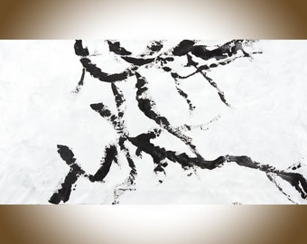 "Extra large Painting 60"" abstract art Black and White art original art large wall Art wall decor painting on canvas ""dancing in the snow"""