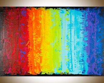 Colorful Abstract art rainbow color art original artwork wall art canvas art red yellow orange green blue purple painting by qiqigallery