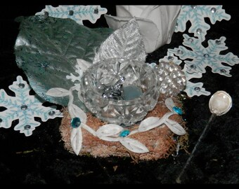 WINTER Offering Altar BOWL, SOLSTICE, Bohemian Glass with Spoon, Fairy, Pagan, Wicca