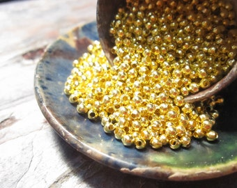 30% Off 200 pcs Bright Gold Round Beads, 2.5mm with a 1mm hole, MB1053 AF16