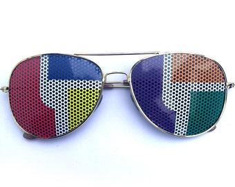 rainbow colors Disco Biscuits logo graphic aviator sunglasses