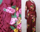 MOVING SALE 40s Hollywood Glam Jacquard Dressing Gown Robe L