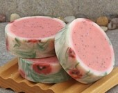 Rimmed Artisan Soap in a Poppy Seed and Spicy Pomegranate Scent