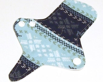 ULTRATHIN Reusable Thongliner Cotton Flannel Mini Pad with wings for Every Day - Washable Cotton Flannel - Fair Isle