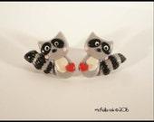 Raccoon Earrings Post Stud Polymer Clay