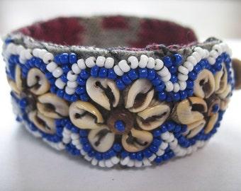 Vintage Cowry Cuff Bracelet