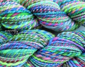 hand-spun candy-striped art yarn / 2-ply worsted weight / merino wool / asterisk colorway / 100 yards / aqua, blue, chartreuse, pink