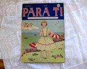 Vintage Para Ti Magazine, Sewing Issue, 1959, Girl at the Beach,  Foldout, Large Doily Patterns, Paper Dresses, Paper Ephemera