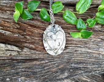 Handmade Personalized heart necklace, Rustic Birch Bark Pendant, Sterling Silver, Initial necklace, monogram jewelry
