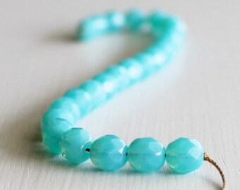 25 Milky Caribbean Blue 8mm Rounds - Czech Glass Beads