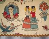 TODO PARA TI Taupe Tattoo Frida Kahlo Spanish Latino Espagnol Alexander Henry Cotton Quilt Fabric by the Yard, Half Yard, or Fat Quarter Fq