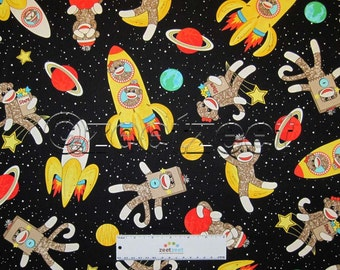 SOCK MONKEYS in SPACE Black Quilt Fabric by the Yard, Half Yard, or Fat Quarter Fq