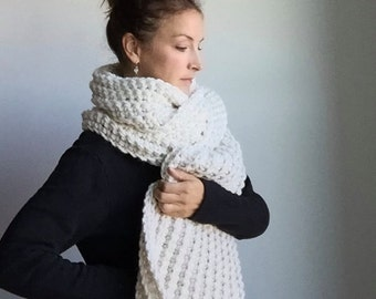 Super Chunky Large Wrap / #1023 / open ended scarf / ribbed knit crochet / Natural Ivory