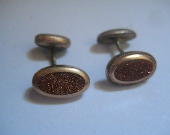 2 Antique Cufflinks with Goldstone from the Victorian Era