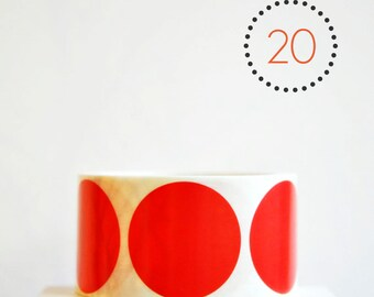 Circle Stickers {2.0inch or 50mm} Red Envelope Seals {20} Wedding Engagement Contemporary Wrap DIY Supplies Christmas in July