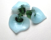 Sky Blue Calla Lily, Lampwork Glass Beads, unique handmade Easter lilies flowers jewelry supplies sra