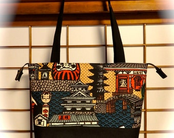 Japanese Canvas Tote Bag with Metal Zipper Top Closure, Castle, Pagoda, Kaminarimon, Kokeshi Doll, Daruma, Red Black Tan Blue