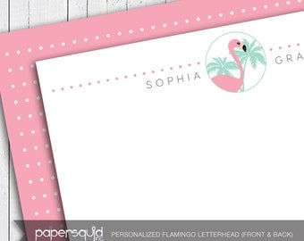 Personalized Flamingo Tropical Letterhead, Letter size or A4 stationery, Customized with your information - DIY Digital Printable PDF - #178