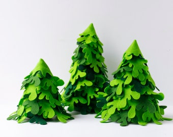 Christmas Centerpiece Fir Forest Set of three green firs trees Christmas Ornaments Christmas Party centerpieces  Miniature Home Decorations
